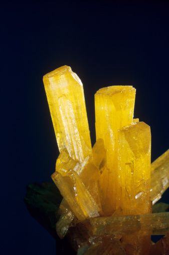 Legrandite, zinc arsenate, is a somewhat rare mineral that occurs in and near zinc mines. Its bright yellow crystals are both distinctive and characteristic, making the mineral especially prized by collectors. The material from Mapimi, Mexico is undoubtedl