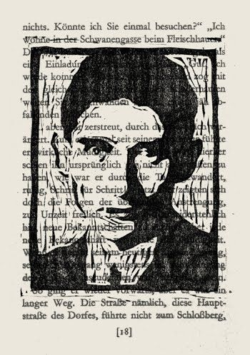 Kafka —Original linocut printed on a page from a novel by Kafka.