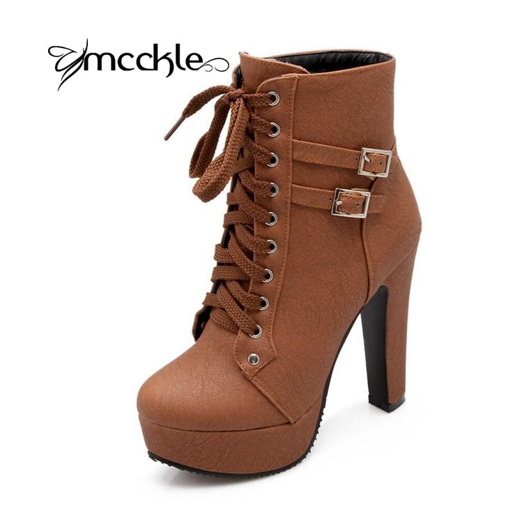 MCCKLE 2016 Autumn Winter Women Ankle Boots high heels lace up leather double buckle platform short booties new black X0761-in Women's Boots from Shoes on Aliexpress.com | Alibaba Group