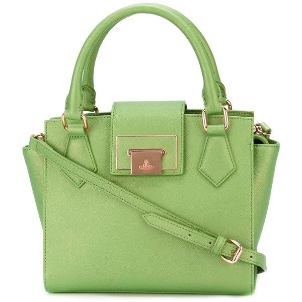 Vivienne Westwood gold-tone hardware flap tote ($480) ❤ liked on Polyvore featuring bags, handbags, tote bags, green, handbags totes, vivienne westwood, tote hand bags, green tote handbag and flap handbag
