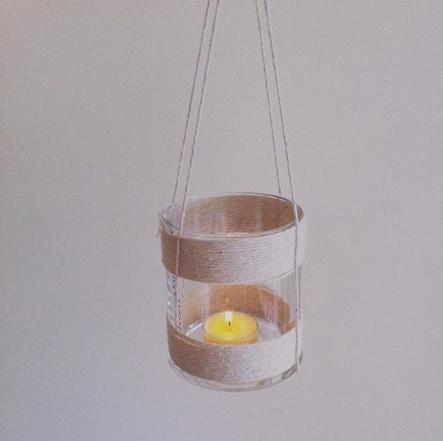 Reused Glasshouse candle jar. Made into a hanging candle holder with white cotton string.