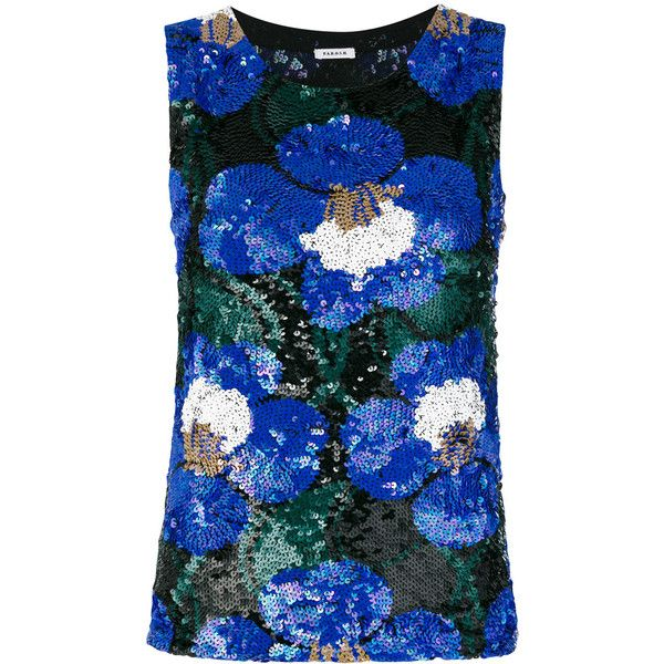 P.A.R.O.S.H. floral sequinned tank ($850) ❤ liked on Polyvore featuring tops, blue, blue tank, sequined tops, sequin tank top, floral print tops and floral tank top
