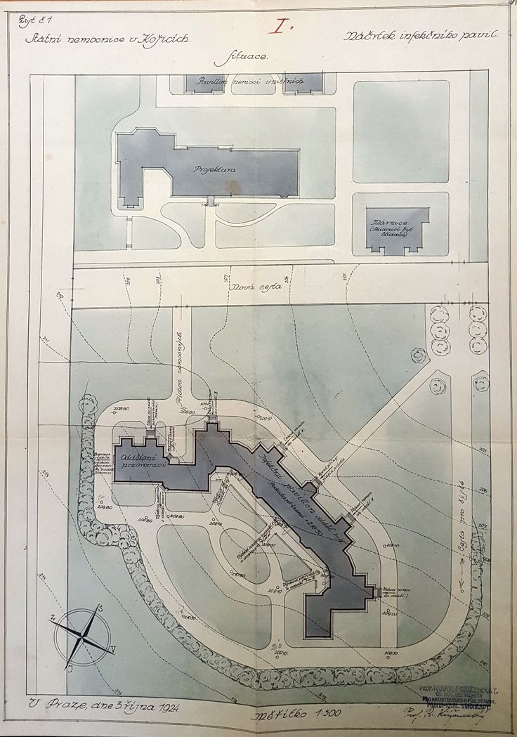 Kosice State Hospital plan (1924) of a proposed isolation pavilion by Rudolf Krizenecky.  Source: Czech National Archives, Ministry of Healthcare, ka 628