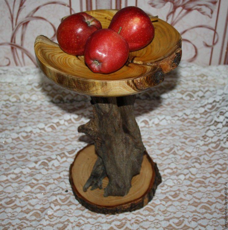 Купить Подставка для фруктов Цветок - комбинированный, натуральное дерево, шелковица, акация, корень, Корнепластика