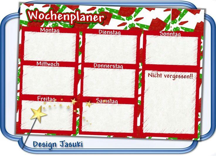 A4 Wochenplaner Haushaltsplaner laminiert rot/grün von Jasuki auf DaWanda.com