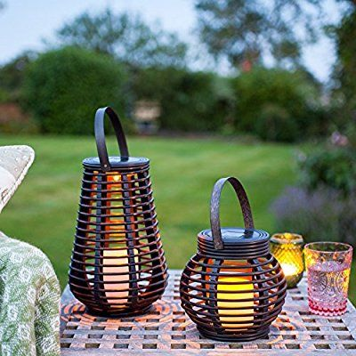 Set of 2 Rattan Solar Powered LED Garden Lanterns by Lights4fun