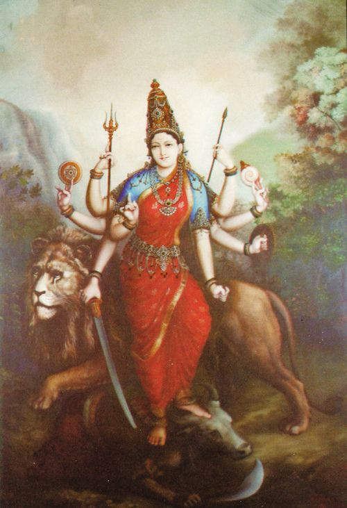 The 18-armed Hindu goddess Durga, an aspect of the Great Goddess Devi. After the gods had been defeated by the all-powerful demon Mahisha, they created Durga to serve as their champion. With the force of the gods' collective weapons and might transferred to her, she slays the demon buffalo. Originally, part of a larger ensemble. She stood on the back of the buffalo-demon. on a pedestal.