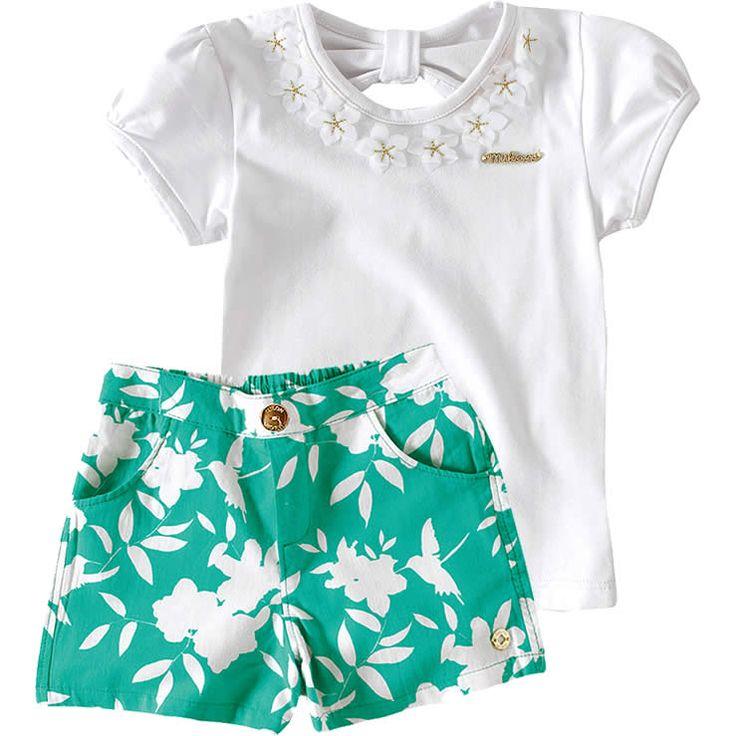 Conjunto Infantil Feminino com Shorts Floral Verde - Milon :: 764 Kids   Roupa bebê e infantil