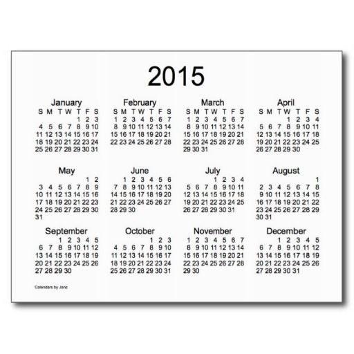 Black and White 2015 Mini Calendar Post Cards | Calendars from the ...