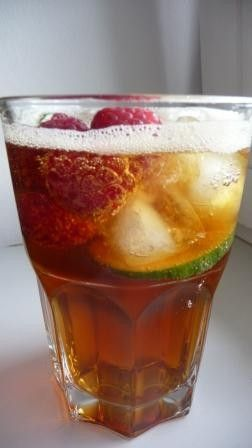Pimm's - with Ginger Ale, lemon, cucumbers and raspberries!