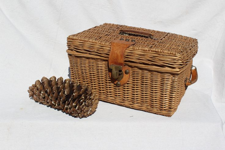 Antique French picnic basket, suitcase picnic basket with leather like handles Rustic Decor by Itzvintagedarling on Etsy