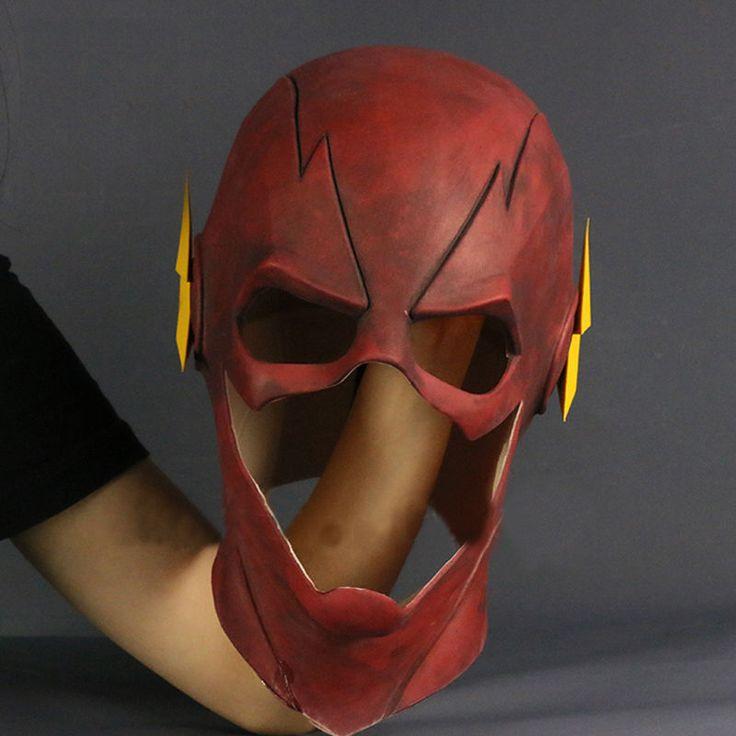 2017 The Flash Mask Cosplay Allen Helmet Halloween Full Face Latex Mask Hood New4