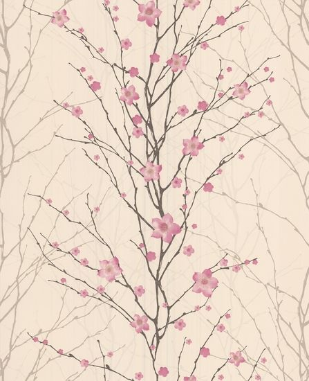 """pressshuu-uu-sss!  Vitality Floral: Pink Wallpaper from www.grahambrown.com. $75 roll (covers 6'8"""" x 8')"""
