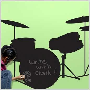 LARGE DRUMS SET CHALKBOARD WALL DECALS Musical Instruments Stickers Room Decor Ebay $34.99