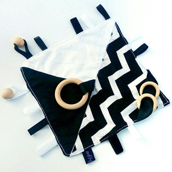 Crinkle Sound Newborn Sensory Activity Blanket Natural Organic Tag Baby Black White monochrome Chevron Ribbon Mink Wooden beech Bead Ring