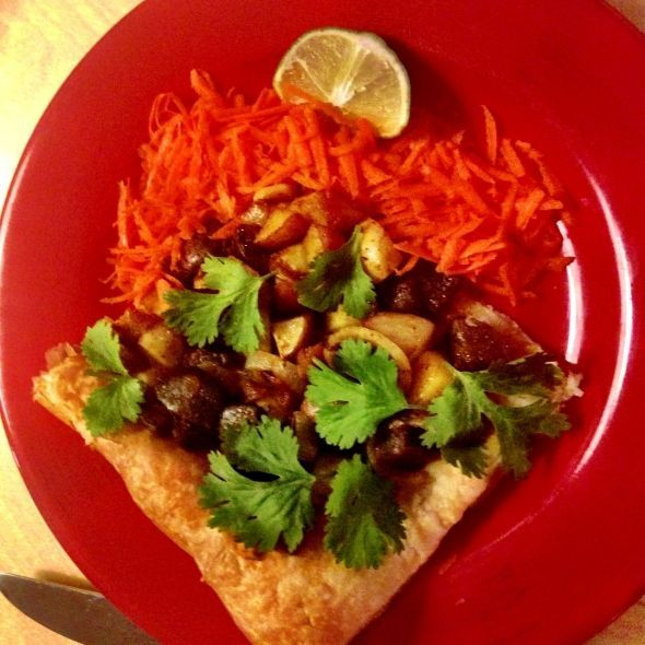 Spicy Potato Tart with Carrot and Lime Salad