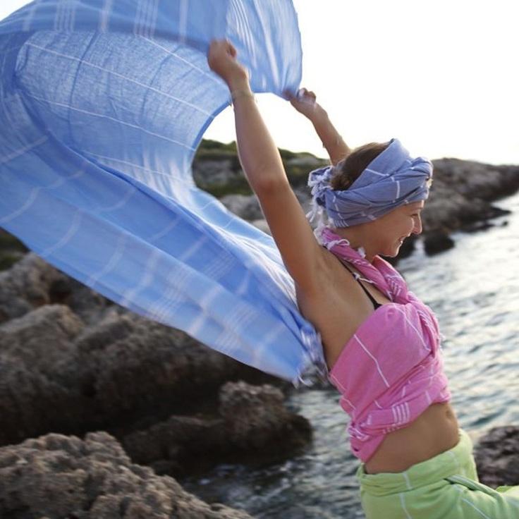 Hammamas Original Sky Blue, Fucshia and Lime Cotton Towels