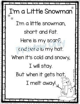 I'm a Little Snowman poem for kids   Winter poems   Snowman songs   Kindergarten   1st grade   printable poems   poem of the week   poetry notebook
