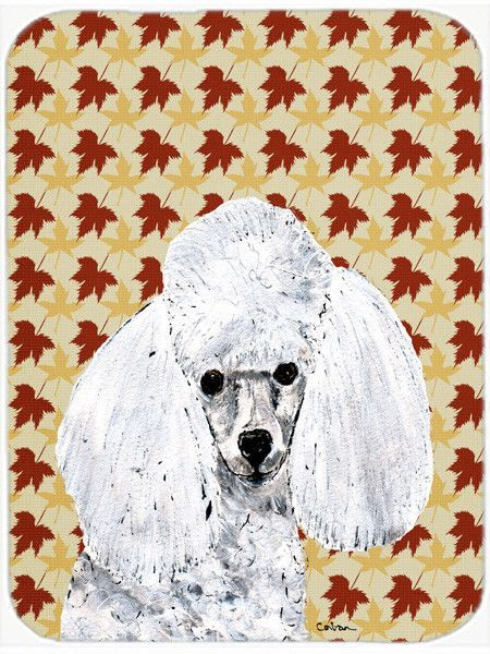 White Toy Poodle Fall Leaves Glass Cutting Board Large Size SC9677LCB