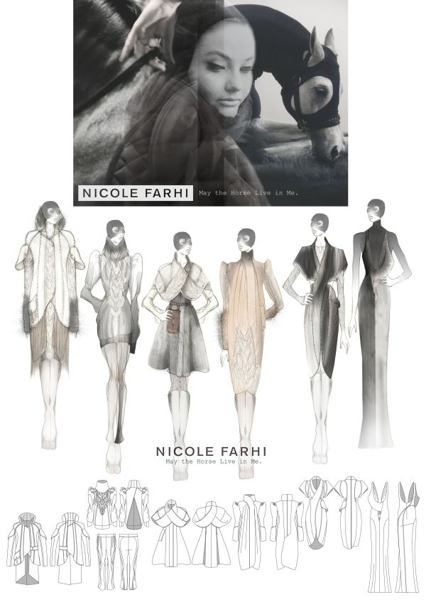 Fashion Portfolio - British Fashion Council womenswear project for Nicole Farhi - fashion design drawings; fashion illustration // Louise Ross