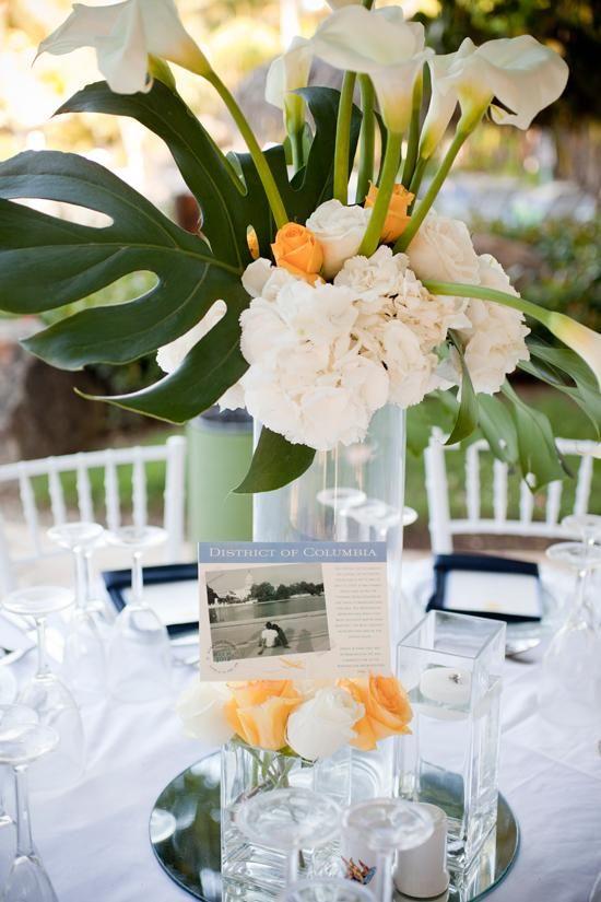 Caribbean wedding inspiration and ideas: Hydrangea centerpieces Centre de table fleurs tropicales