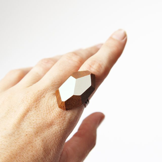 Faceted wooden statement ring | Felt