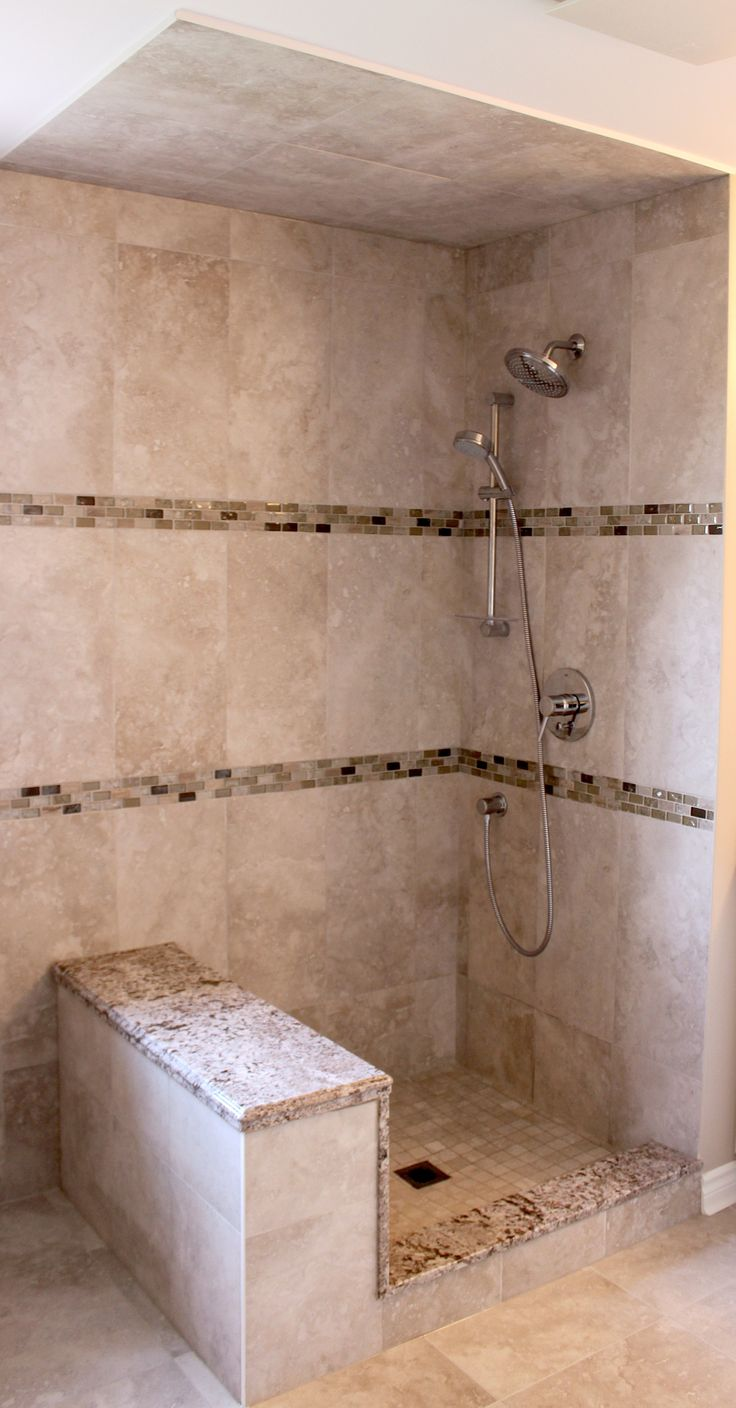 Kent bathroom vanities - Custom Shower With Double Mosaic Borders Chrome Plumbing Fixtures And A Granite Bench