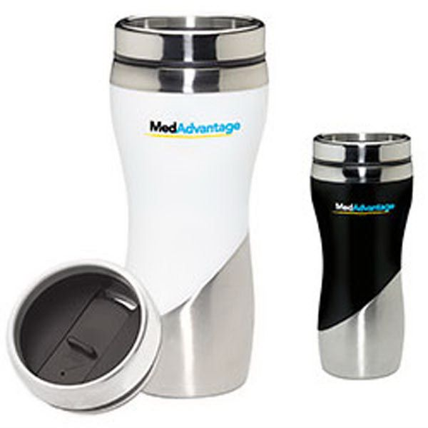 "Throw clients a ""curve"" with this marketing tool. Our Curve Tumbler has a ceramic look and is constructed of a stainless and acrylic exterior with stainless steel liner. It has a 16 oz capacity when filled to rim. This BPA free item has a faux ceramic look and stainless-steel, lead resistant slider lid. Measuring 3 1/4"" x 7 3/4""h; add your logo to create a fun giveaway. What a good value! Some geometric shapes and logos may distort due to product shape."
