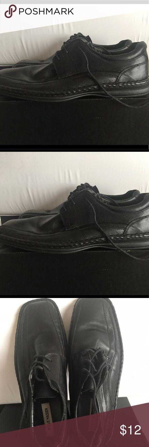 Steve Madden Men's Black Leather Oxford 11 Shoes Steve Madden Men's Black Leather Oxford Lace-up Casual Size 11 Shoes Steve Madden Shoes Oxfords & Derbys