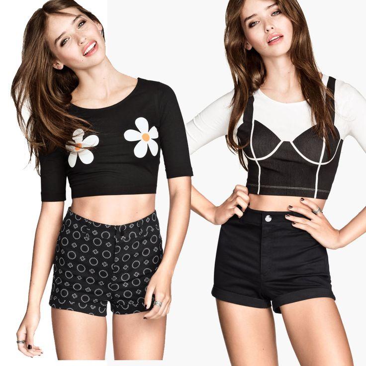 crop top Bra print daisy print short design loose short-sleeve t-shirt tops haoduoyi shirt women work wear body blusas femininas