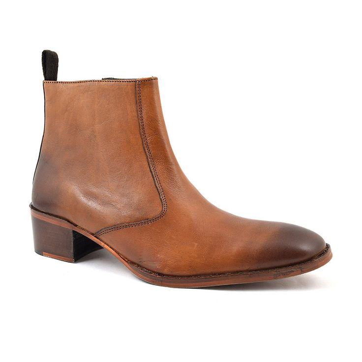Find cool mens tan cuban heel boots. 5 cm heel on cuban heel boots in tan, brown, black, leather and suede. Designer mens heeled boots. Free delivery