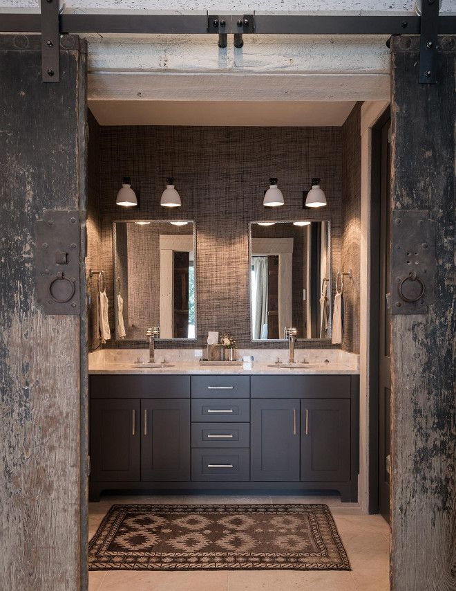 Rustic farmhouse bathroom with reclaimed barn doors grey for Rustic farmhouse bathroom ideas