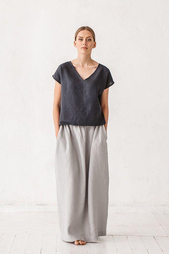 Vestiti di base i pidocchi lino grigio gonna gonna di Linenfox
