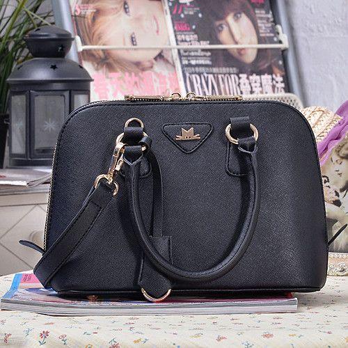 Fashion Zipper Black PU Shoulder Bag_Shoulder Bags