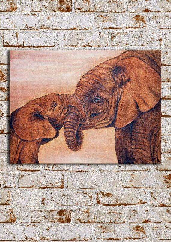 Tableau élephant sur toile de lin inspiration africaine