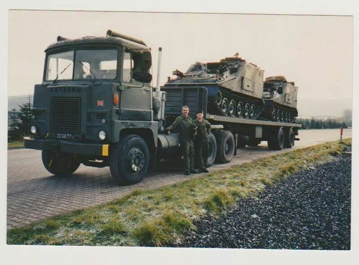 Scammell / Leyland Crusader 6x4 tractor unit hauling a semi trailer with Sultan CVRT ( Combat Vehicle Reconnaissance Tracked) command armoured vehicles.