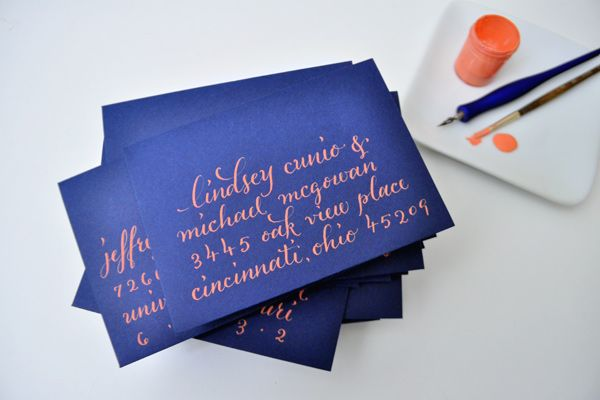 Plurabelle: Colors Combos, Idea, Plurabel Calligraphy, Blue, Envelope, Coral Wedding Colors, Colors Combinations, Calligraphy Inspiration, Wedding Colors Palettes