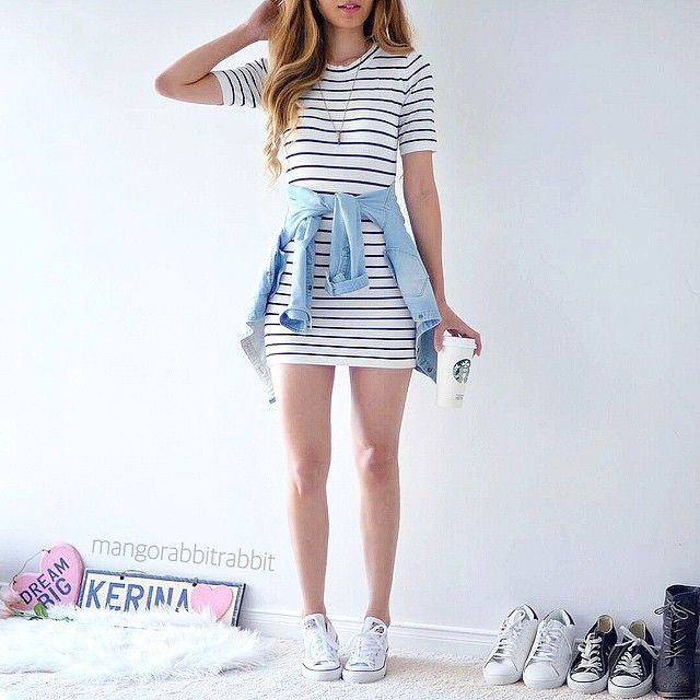 striped t-shirt dress with white converse and chambray shirt tied around the waist