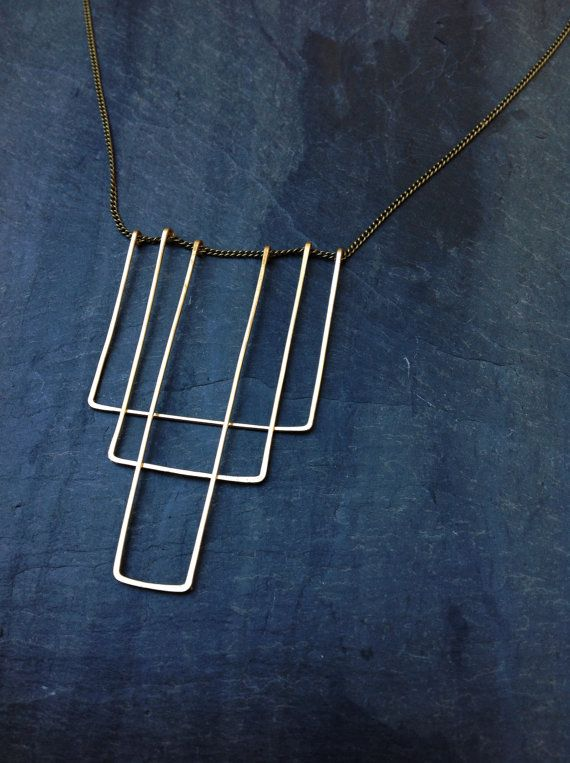 Art Deco Geometric Hammered Gold Necklace - by Loop Jewelry, Gold Rectangle Necklace Art Deco 1920s Jewelry, Great Gatsby, Geometric Jewelry on Etsy, $65.00