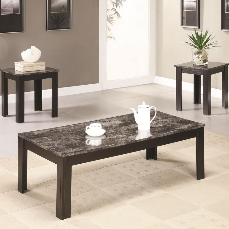 coaster 3 piece occasional table sets coffee and end table set w