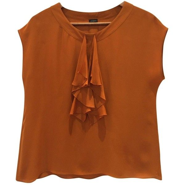 Pre-owned Joseph Silk Blouse ($180) ❤ liked on Polyvore featuring tops, blouses, camel, silk blouse, camel top, camel blouse, brown top and brown blouse