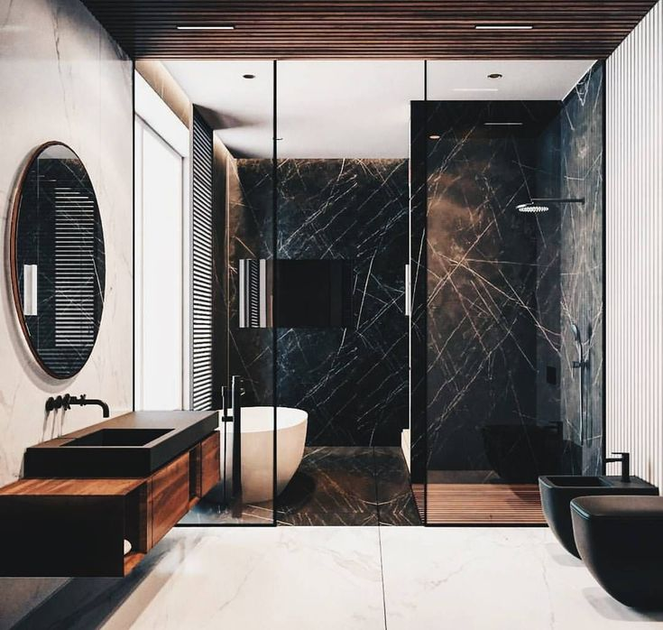 """264 Likes, 7 Comments - My Bella Invest (@mybellainvest) on Instagram: """"Using black marble in stead of white gives the bathroom a more unique edge by @quandro_room"""""""