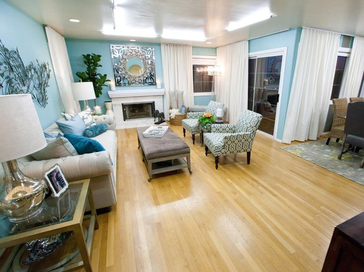 The Cool Blue Color Scheme Keeps This Transitional Living Room Feeling Calm And Collected Beautiful
