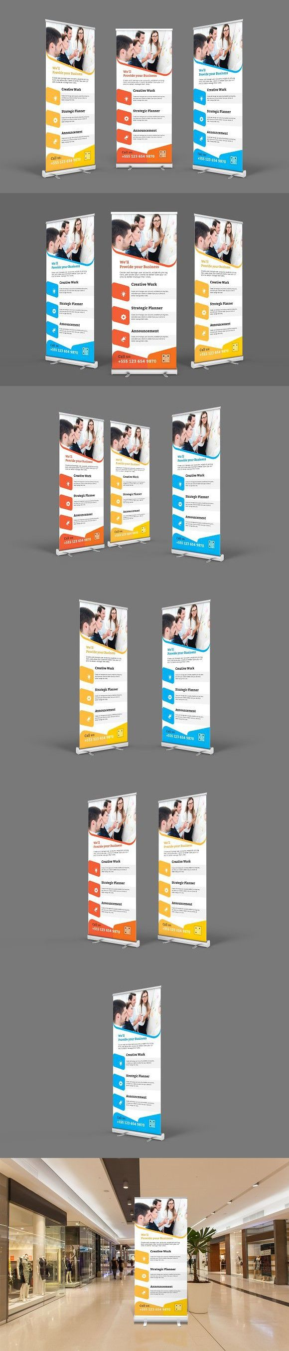 Roll-Up Banner. Stationery Templates