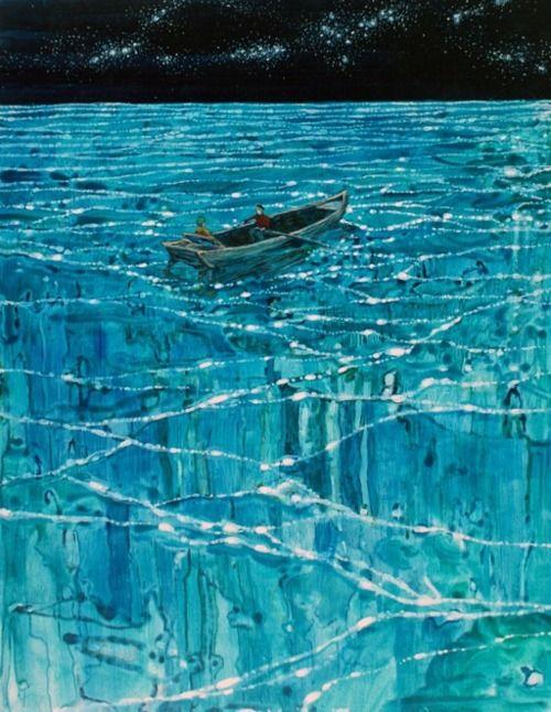 Daniel Ablitt (b.1976, UK) - Moonlight ribbons. Oil on panel