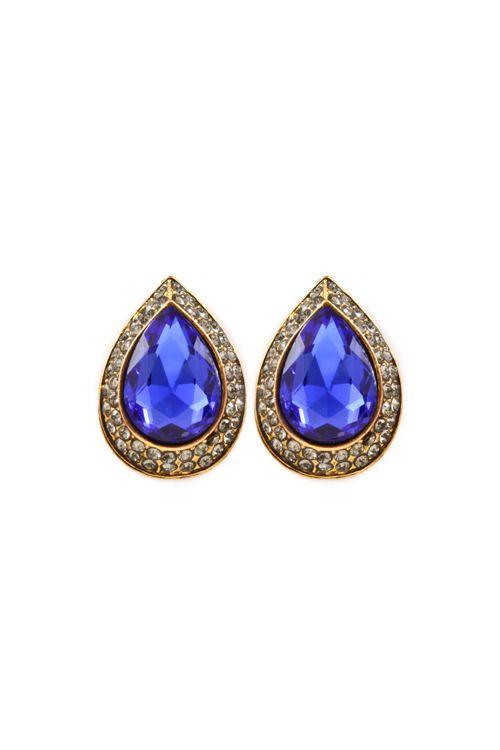 Elizabeth Teardrop Earrings in Royal