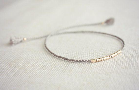 Self-Tie Lucia Silk Friendship Bracelet / Grey Silk Bracelet / Gold and Silk Bra… – jewelry ideas