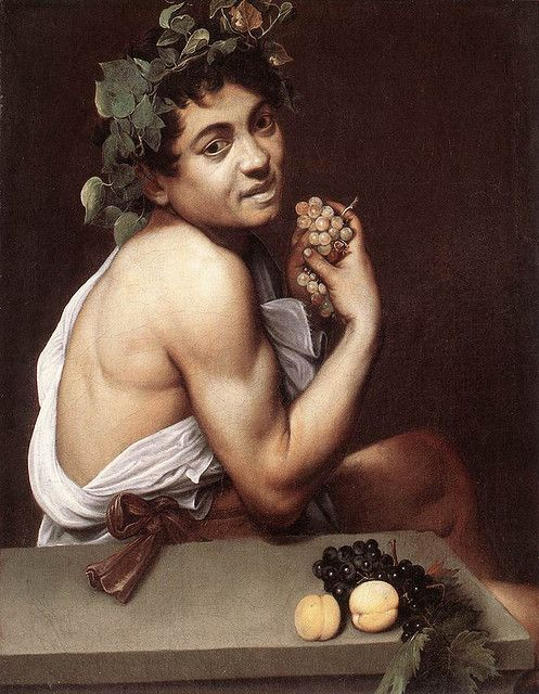 Michelangelo Merisi da Caravaggio or Caravaggio | Self-Portrait as sick Bacchus, 1593, Galleria Borghese, Roma Gentileschi was heavily influenced by Caravaggio and used similar styles in her own works, such as forced dramatic lighting.