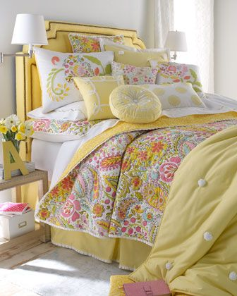 Sweet Dreams: Bedrooms Design, Yellow Bedrooms,  Comforter,  Puff, Beds Linens, Guest Rooms, Bedrooms Decor, Neiman Marcus, Girls Rooms