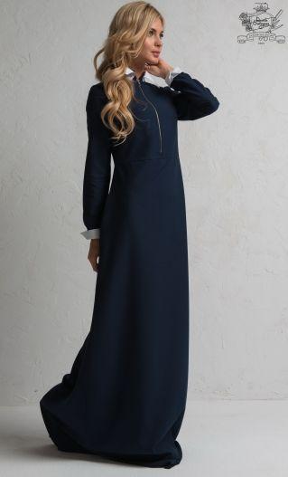 Платье Честер тёмно-синее со съёмными манжетами по супер выгодной цене, с доставкой по Москве и России без предоплаты. Приезжайте к нам в магазин, великолепная цена на любой товар!